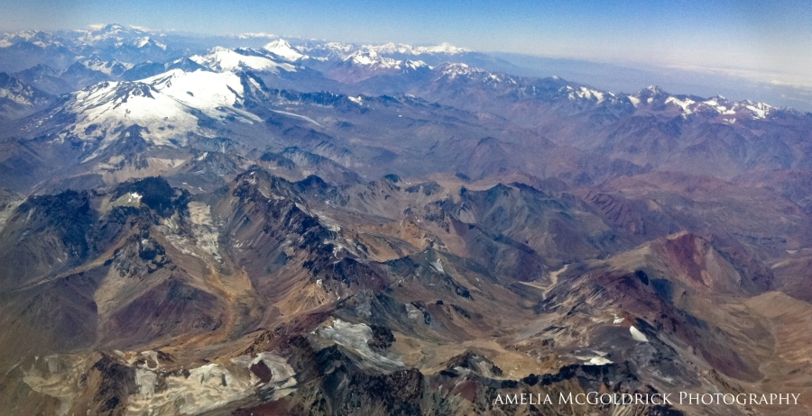 Andes Mountains photography ariel view snow capped mountain range