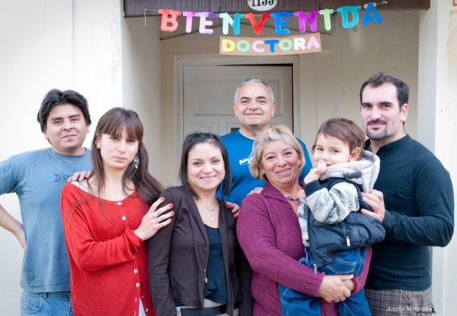 Family Photo outside house in Argentina celebrating