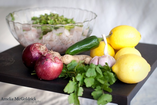Fresh ingrendients for ceviche still life photo fresh fruits and vegtables lemons herbs onions chilli bowl of fish